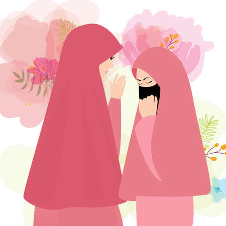 friends wear veil scarf islam cover face two woman girl vector Illustration