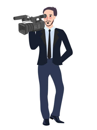 cameraman profesional reporter man holding video camera wearing suite and tie vector Illustration