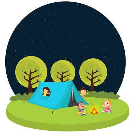 kids children camping tent outdoor fun activity fire camp vector