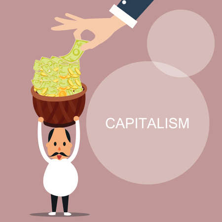 capitalism man bring lot of money capital concept vector