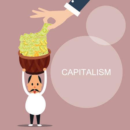 El capitalismo el hombre trae mucho dinero capital concepto vector Foto de archivo - 81519168