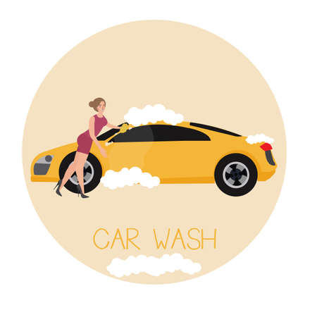 car wash services illustration by sexy girl vector Illustration