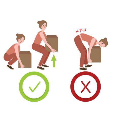modo corretto e sbagliato postura sollevando oggetti di grandi dimensioni illustrazione di posizione corretta Vettoriali
