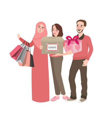 donation by friends volunteer group of people bring box presents give to community helping each other take care Illustration