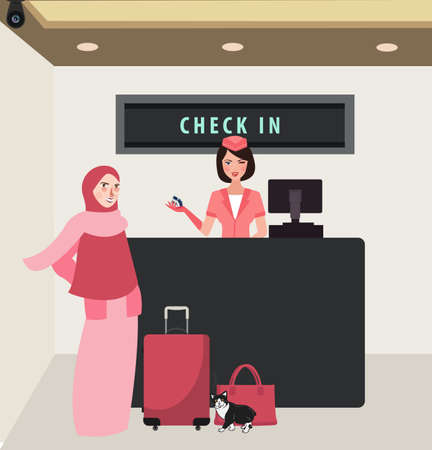 girl woman check in airline flight front desk travel wearing veil bring baggage