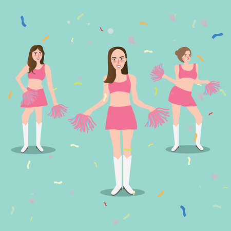 cheer leader girl with pompoms sport beautiful young standing vector Illustration