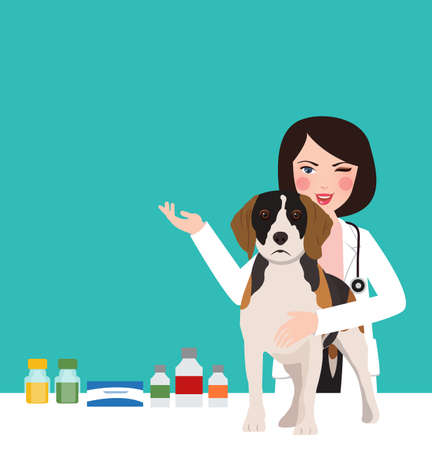 veterinarian animal dog doctor in clinic woman young professional in clinic taking care Иллюстрация