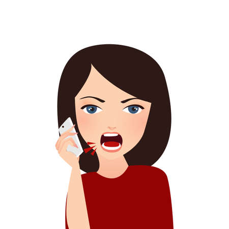woman complain on phone angry complain upset shouting to company services mobile vector Stock Vector - 81598706