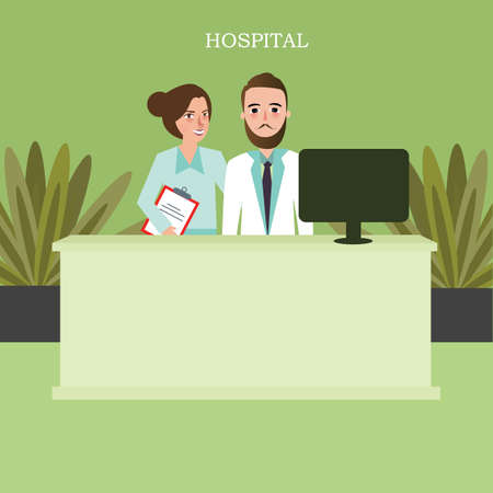 hospital reception front desk customer services clinic worker staff vector