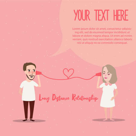 long distance relationship LDR phone couple in love romance vector Illustration