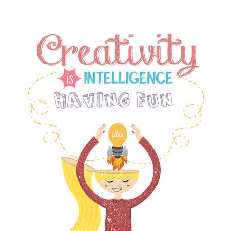 creativity is intelligence having fun quotes on creative mind rocket bulb lamp vector Çizim