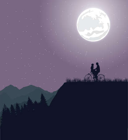 Couple silhouette under the moon in bicycle riding bike romance Illustration