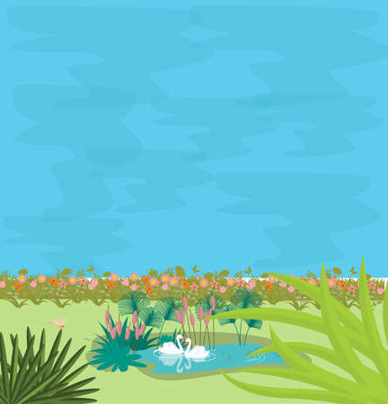 Two swans in small pond in the middle of greens