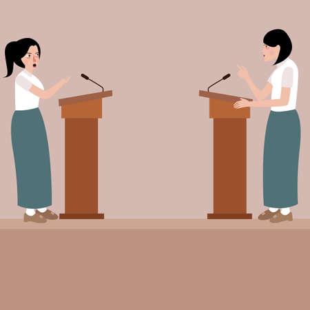 twee high school meisje debat op podium podium public speaking wedstrijd presentatie vector Stock Illustratie