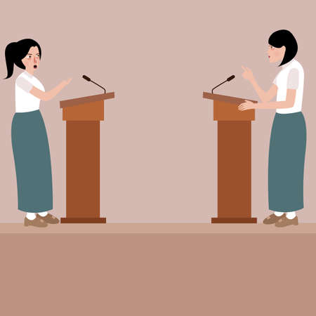 two high school girl debate on stage podium public speaking contest presentation vector