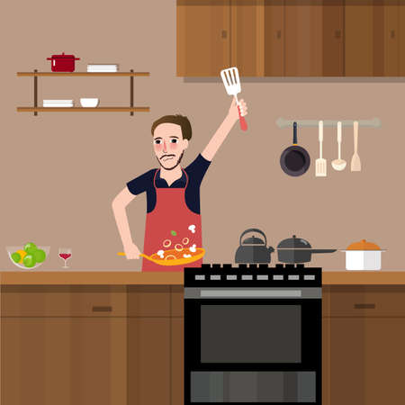man in kitchen cooking stir fry preparing food vegetable healthy meal alone vector Ilustrace