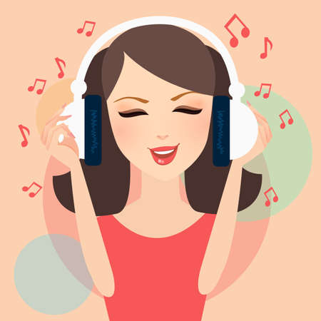 girl listening to music in headphone young female pretty with musical notation fly around