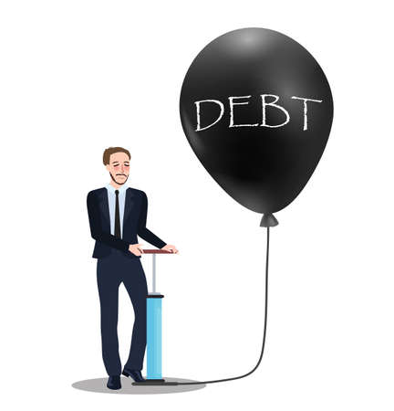 overvalued: debt problem concept of pumping baloon economic problem bubble financial inflation collapse vector