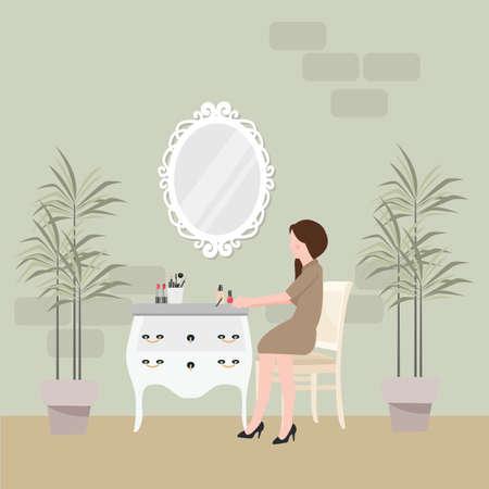 meisje, zittend in een stoel voor make-up met tafel en spiegel aan de voorkant shabby chique stijl meubels