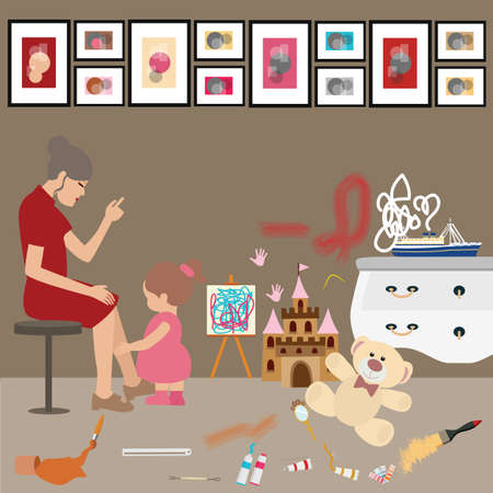 untidy: Messy untidy home kids children paint all over wall mom woman looks frustrated stress Illustration