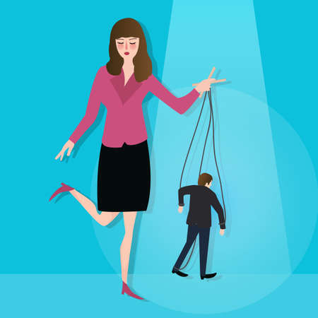Woman control puppet concept of leadership dictator manipulated powerless worker in business vector