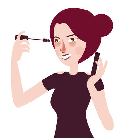 make up model: Girl put mascara eye lashes make up cosmetics beautiful woman apply to her eyes vector