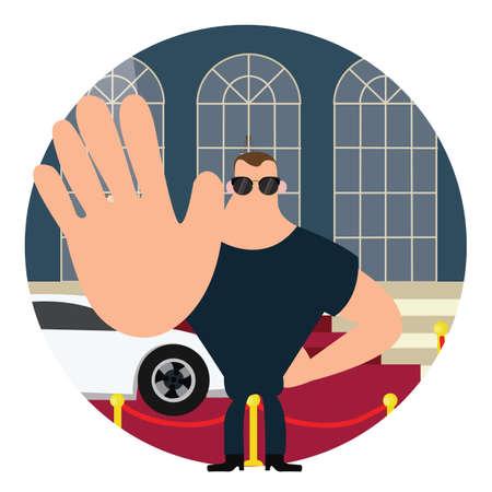 lichaamsbewaking op rood tapijt stopteken met hand groot lichaam vector Stock Illustratie