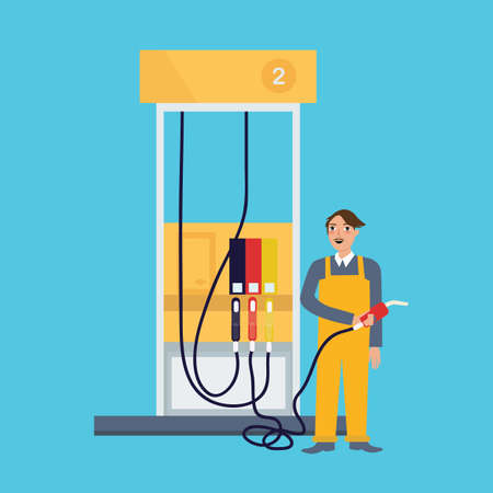 filling station: Male employee standing in gas station holding fuel nozzle petrol occupation working job as attendant