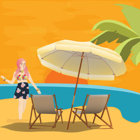 Girl waiting for sunset at the seaside, holiday vector illustration Illustration