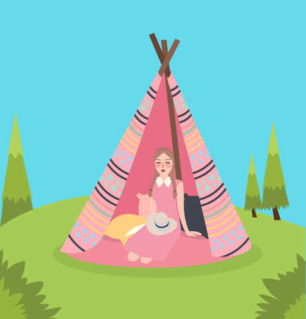 Girl inside teepee traditional native America tent relaxing enjoy camping in green landscape