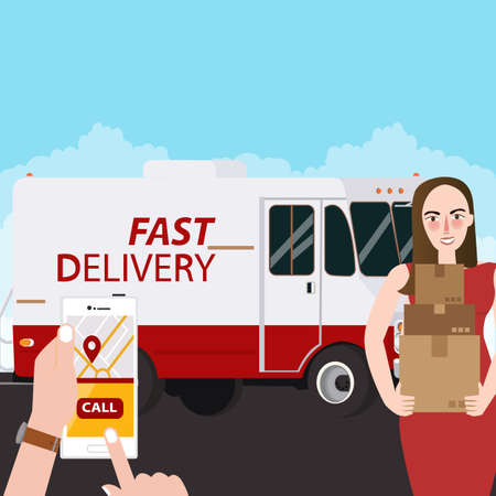 Fast delivery girl holding box package order via mobile phone