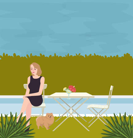 Girl sitting alone with the dog on side of swimming pool