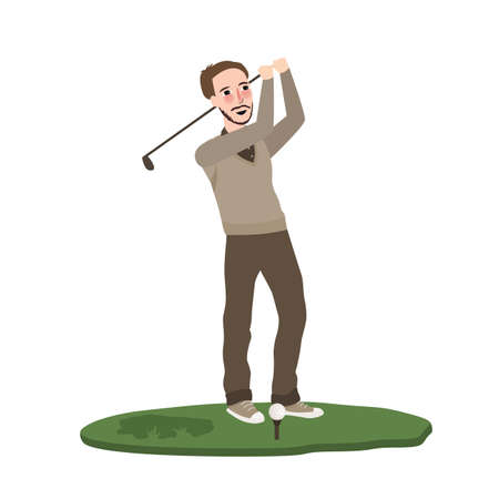 Man playing golf vector illustration