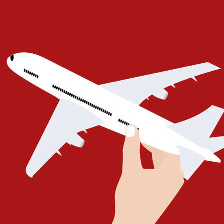 hand holding airplane toy symbol concept of travel control vector