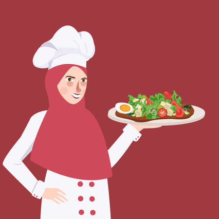 middle eastern food: woman chef holding plate of food salad the girl wearing headscarf veil Islam vector