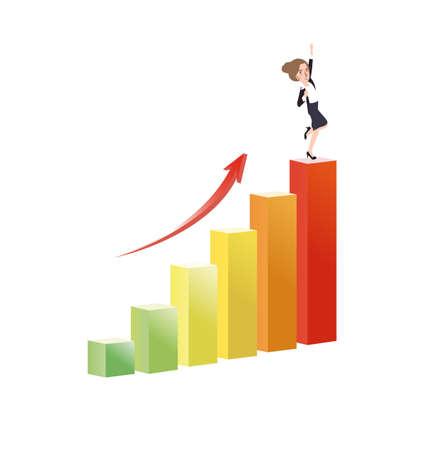 Bedrijfsvrouw groeit een grafiek succes groei vector