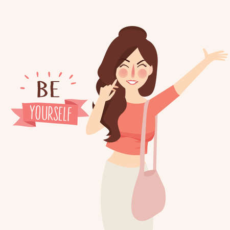 Vector illustration of Believe in yourself Girl fashion lettering typography inspirational quote poster vector