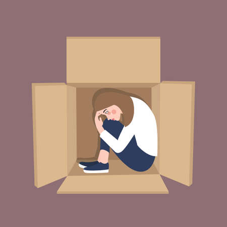 The woman is in the mood for stressed frustation feeling alone inside box cardboard vector