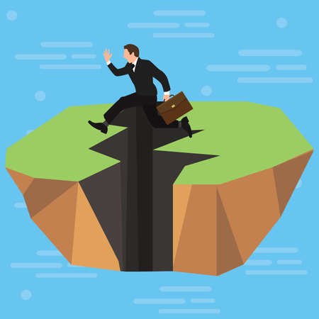 A businessman jumping over a cracked ground vector design