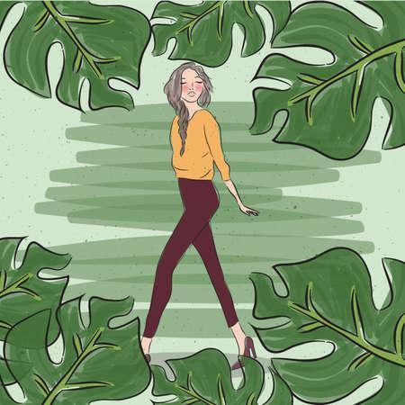 stijlvolle toevallige mode meisje vrouw vrouwelijke wandelen met blad rond groen