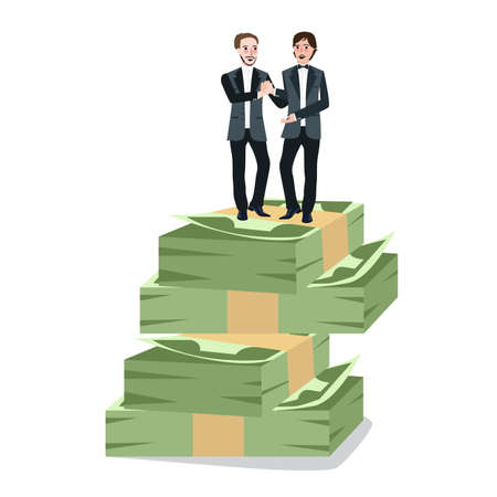 Businessman partnership agreement work together symbol on top stack of moneyloan, payment and bribery concepts