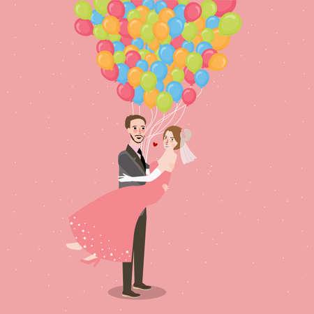 honeymoon wedding couple with baloon fly all around fun romance illustration