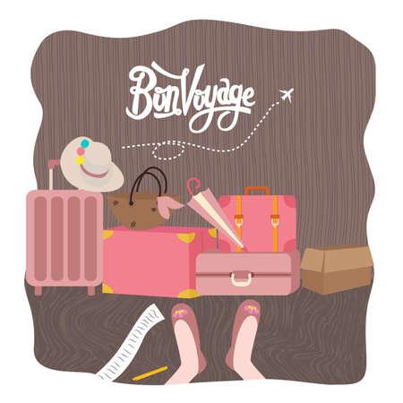 Bon Voyage luggage bag Traveling vector illustration prepare for holiday tourism