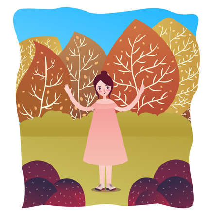 Happy cute woman standing alone in garden fall season with tree forest behind