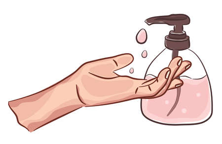 Washing cLEAN hands with soap illustration drawing