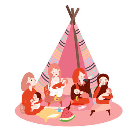 group of moms gathering bring their baby together talking enjoy sitting childcare play Illustration