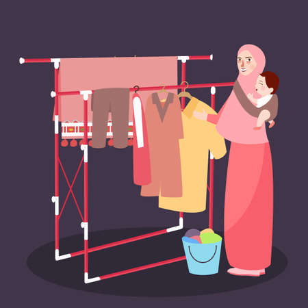 Mom hanging clothes on the line wearing veil while bring baby Illustration