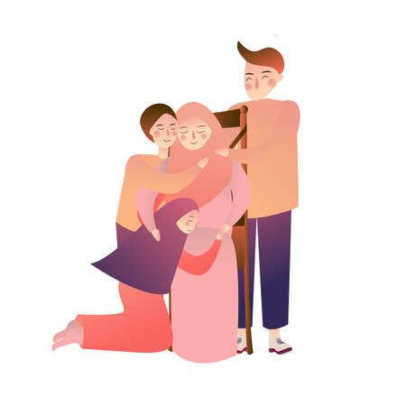 Indonesian muslim Family forgiveness mother father and kids