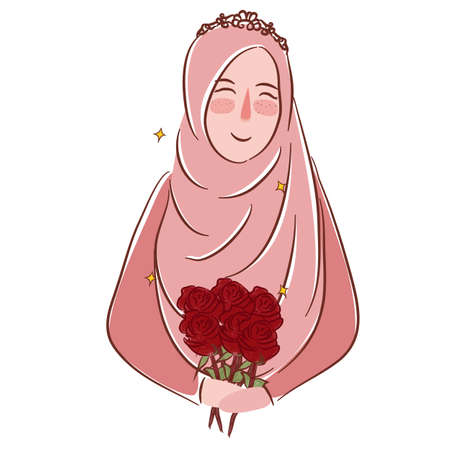 Muslim girl with roses wearing veil Islamic matrimonial illustration drawing