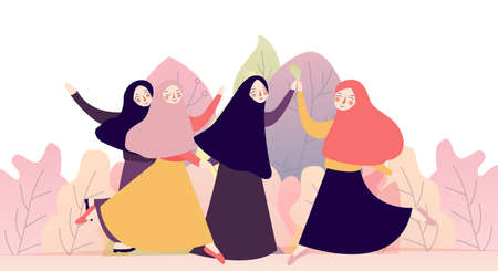 portrait of happy group of pretty girl best friends together. muslim woman concept wearing hijab or head scarf